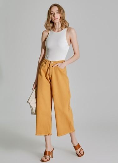 People By Fabrika Bol Paça Pantolon Sarı